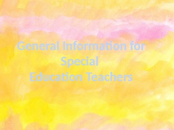 General Information for a Special Education Teacher