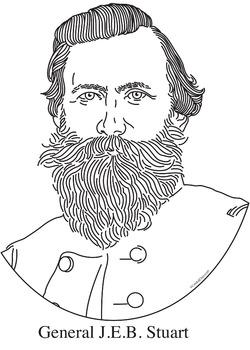 General J.E.B. Stuart Realistic Clip Art, Coloring Page, and Poster