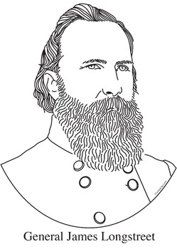 General James Longstreet Realistic Clip Art, Coloring Page, and Poster