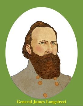General James Longstreet Realistic Clip Art, Coloring Page