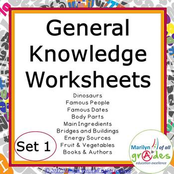 Task Cards - General Knowledge - Sub Tubs -Fill-er-in-er-er - Set 1