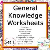 General Knowledge - Sub Tubs - Worksheets, Activities - Set 1