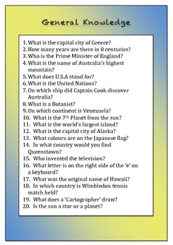 General Knowledge Quizzes for Primary Classrooms - Set 1