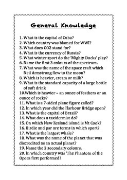 General Knowledge Quizzes for Primary Classrooms - Set 2