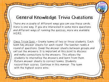General Knowledge Trivia Cards for Quizzes