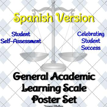 General Academic Learning Scale Poster/Slide Set in SPANISH (Trophy/Award Theme)