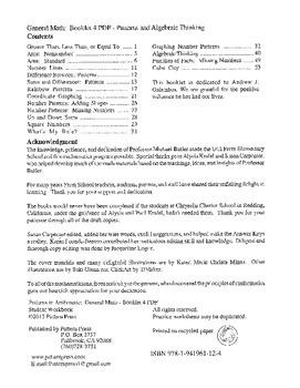 General Math:  Booklet 4 Patterns, Algebraic Thinking Student Workbook