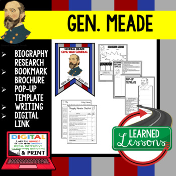 General Meade Biography Research, Bookmark Brochure, Pop-Up, Writing, Google