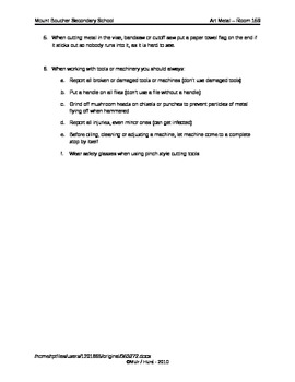 General Metal Lab safety study sheet and test