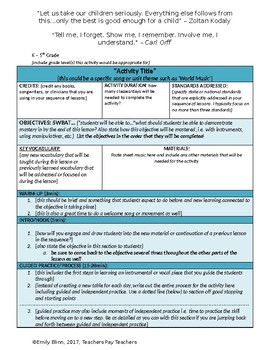 General Music Activity Planning Template (Editable)