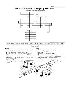 General Music Crossword: Playing Recorder (Substitute plan/ sub tub filler)
