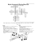 General Music Crossword: Playing Recorder (Substitute plan