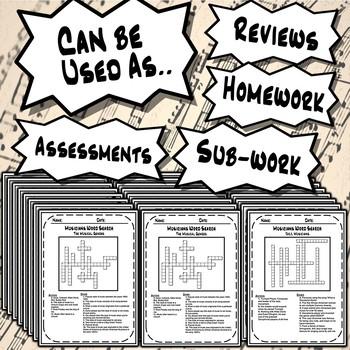 General Music Crossword Puzzle Worksheets