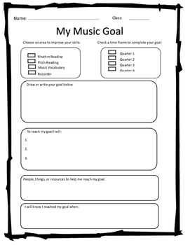 General Music Goal Setting Sheet