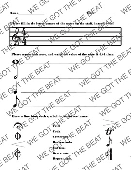 General Music/Instrumental Music SGO test