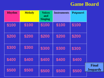 Music Jeopardy Template by The Music Teacher Store | TpT