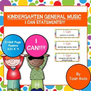 "General Music Kindergarten ""I Can"" Statements"