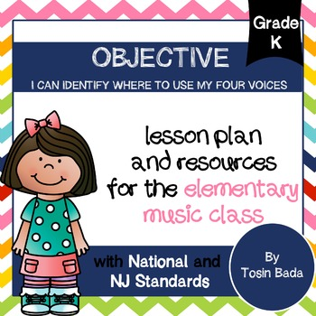 General Music Kindergarten Lesson #6{I Can Identify Where to Use My Four Voices}