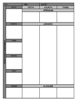 General Music Lesson Plan Grid