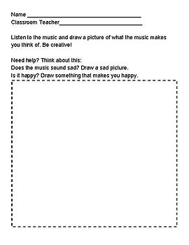 General Music Listening Coloring Worksheet