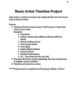 General Music Project and Assignment set for Middle School