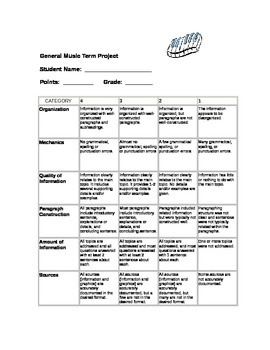 General Music Research Project Rubric