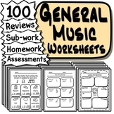 60 General Music Worksheets - Tests, Quizzes, Homework, Reviews or Sub Work!