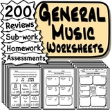120 General Music Worksheets - Tests, Quizzes, Homework, Reviews or Sub Work!