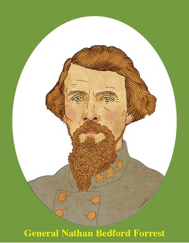 General Nathan B. Forrest Realistic Clip Art, Coloring Pag