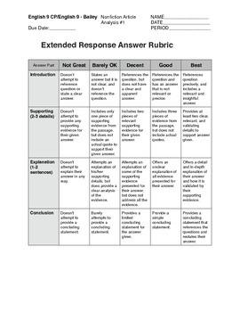 General Nonfiction Analysis Question Set #1 (Common Core)