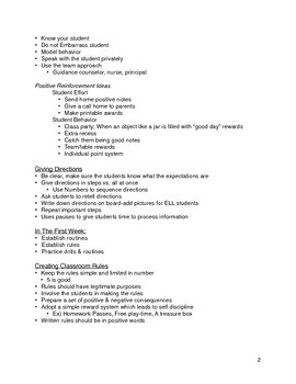 General Notes For New Teachers