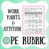 Work Habits and Attitude PE Rubric