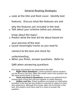General Reading Strategies for Parents and Students