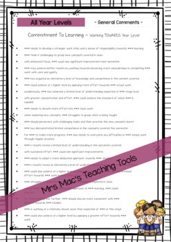 General Report Writing Comments - Australian Curriculum - All Year Levels