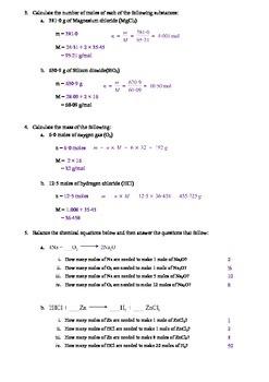 General Revision - Molecular mass, Moles and Molar ratio