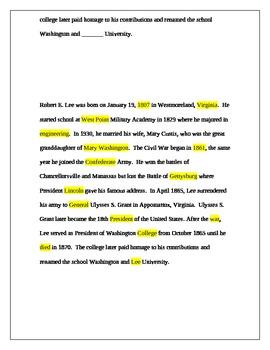 General Robert E Lee Worksheets