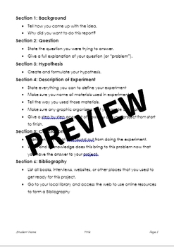 General Science Fair Packet for Elementary Schools