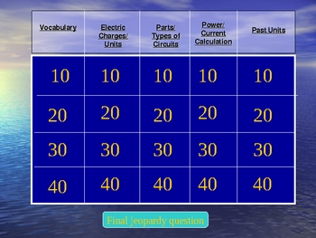 General Science Jeopardy: Electric Current and Circuits