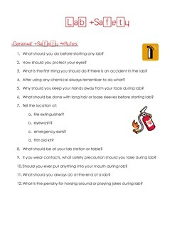 General Science Lab Safety Rules Question Worksheet By Tatum Neely