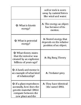 General Science Quiz-Quiz-Trade with Template