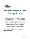 General Science Test - Energy and Life - EDITABLE VERSION
