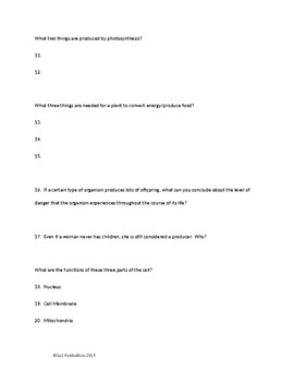 General Science Test - Life and the Cell - EDITABLE VERSION