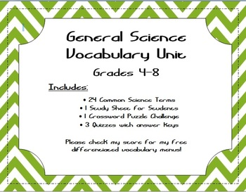 General Science Vocabulary Unit (4-8)