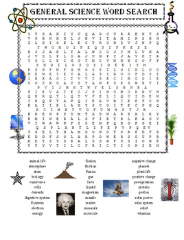 General Science Word Search Puzzle PLUS Science Facts for Kids (Both Items)