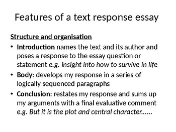 General Senior Text Response Essay