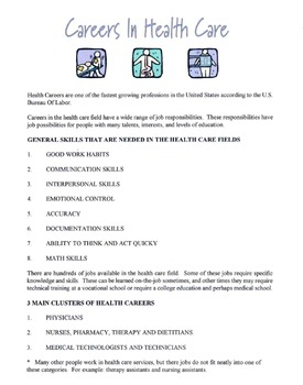 General Skills Needed For A Career In The Health Care Fields Lesson