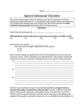 General Speech Rehearsal Checklist