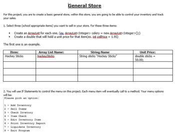 General Store ArrayList Project (Java)