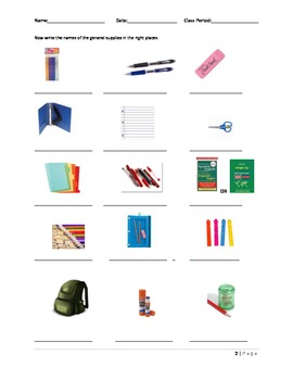 General Supply List for ESOL Students