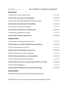General Teacher Evaluations (for student use)